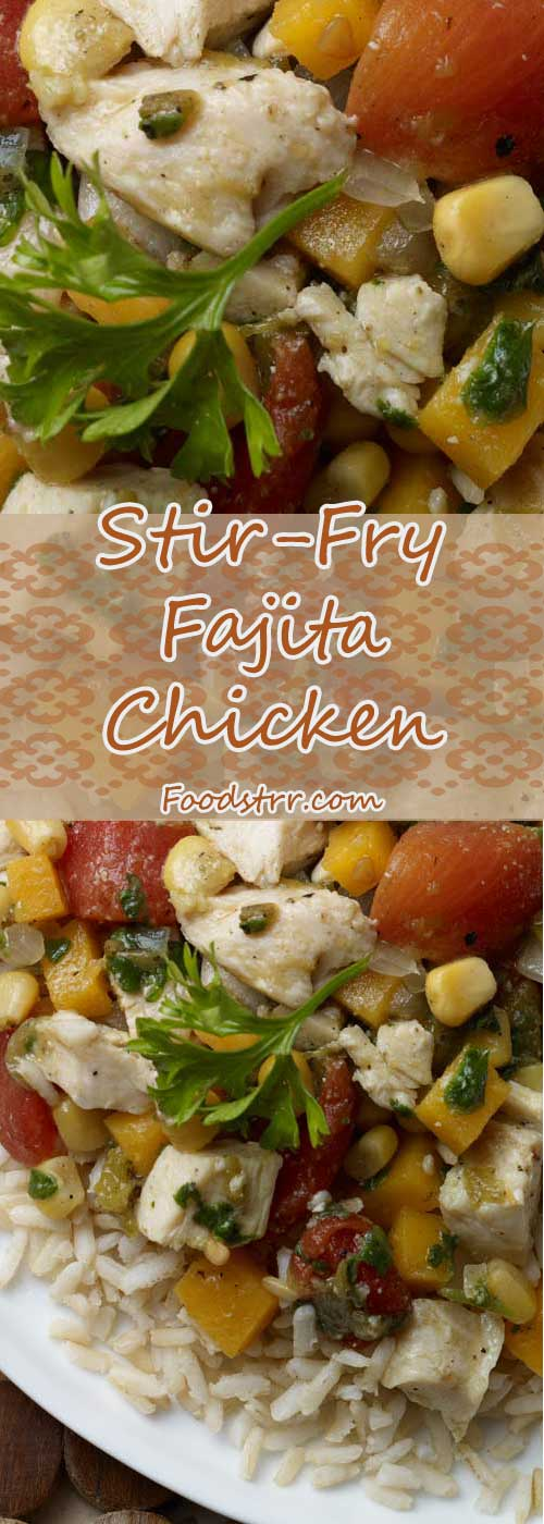 Recipe for Stir-Fry Fajita Chicken - This main dish creatively combines southwest spices with an Asian cooking style, blending the flavors of locally grown produce with fajita chicken strips, all stir-fried to perfection.