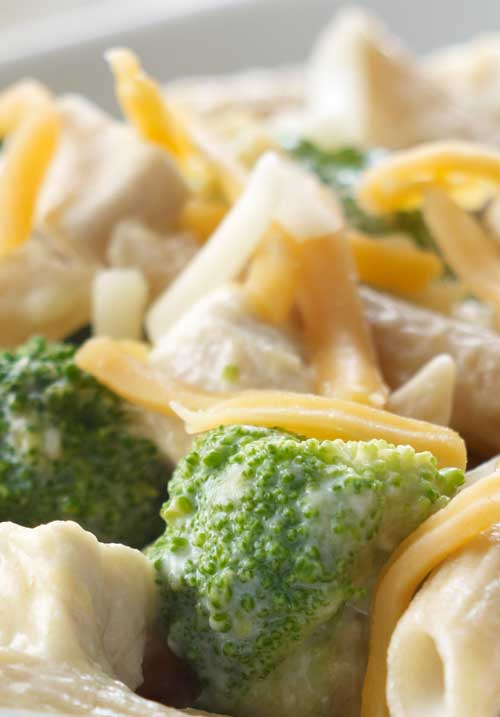 Recipe for Cheesy Chicken Penne - This pasta dish is bright and fun with fresh broccoli, chicken, and melted cheese that is sure to please.
