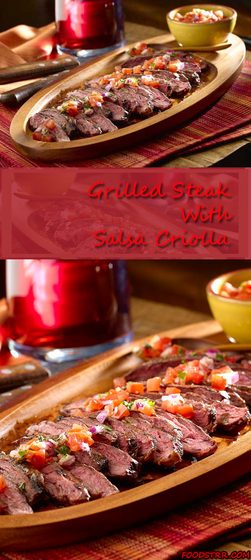 Recipe for Grilled Steak with Salsa Criolla - Tonight, try a recipe from South America! Enjoy these Argentinean-style steaks with a homemade Criolla Sauce, packed with flavor.