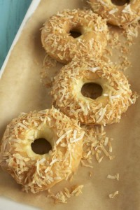 Toasted Coconut and Almond Cake Doughnuts