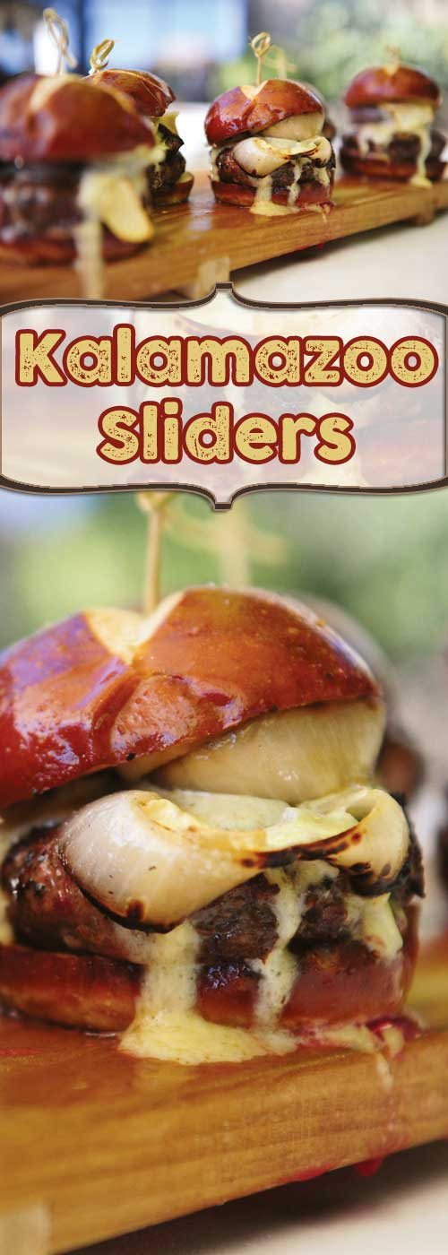 "Recipe for Kalamazoo Sliders - Who can say ""No"" to a burger with that much cheese running off of it?"