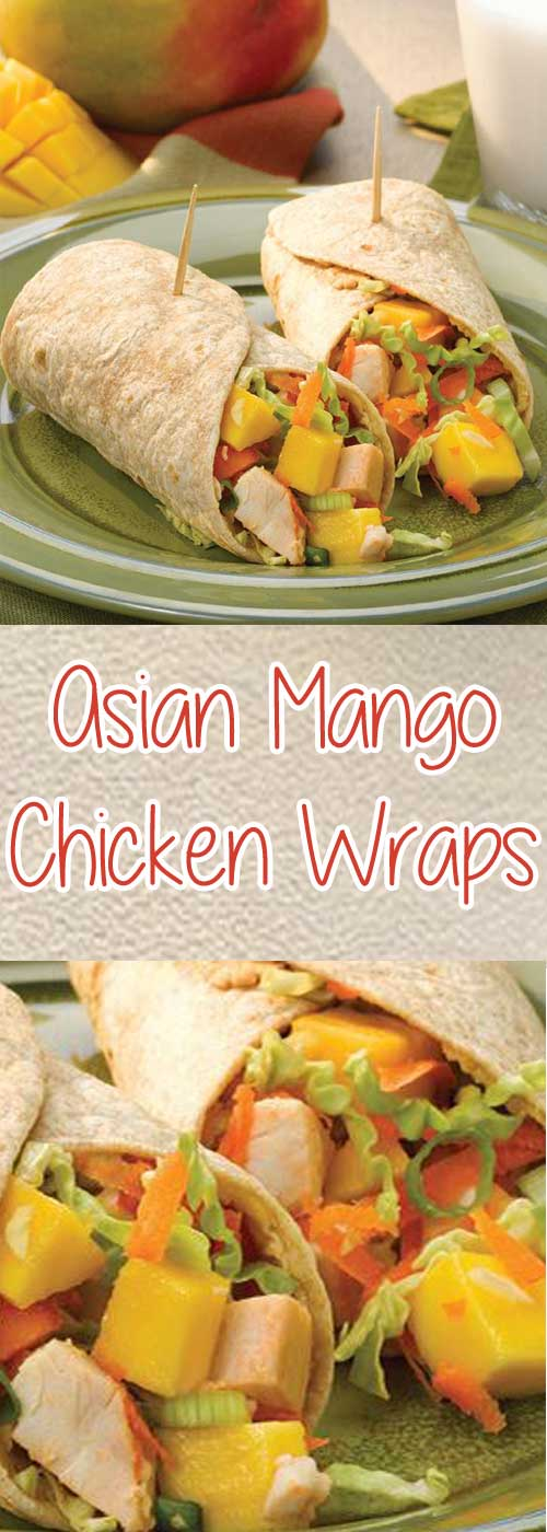 Asian Mango Chicken Wraps - Sweet and juicy ripe mangoes are the perfect balance for the savory ingredients in this Asian chicken wrap. Dinner's ready in 30 minutes, or make ahead for a tasty portable lunch.