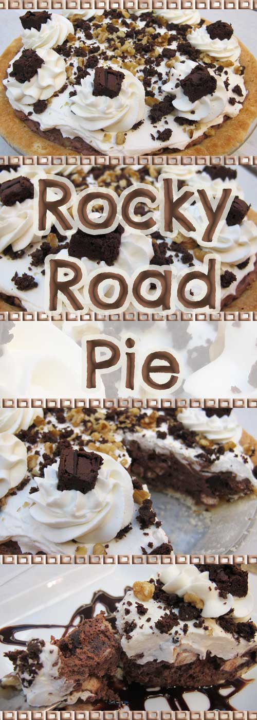 This Rocky Road Pie has a chocolate mousse filling, and is loaded with rich brownie bits, nuts, and marshmallows. It is an unbelievably fantastic combination.