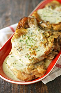 Crockpot Pork Chops with Creamy Herb Sauce