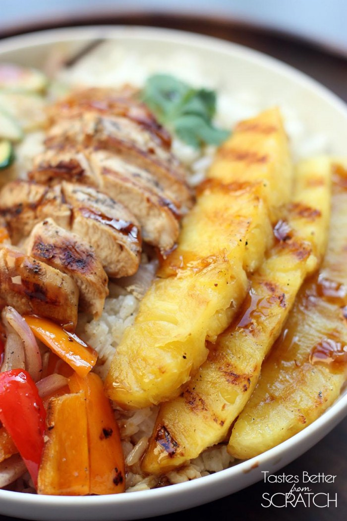 Grilled Hawaiian Chicken Teriyaki Bowls | Tastes Better From Scratch