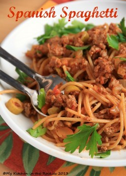 Spanish Spaghetti with Olives | My Kitchen in the Rockies Colorado Denver Foodblog German recipe ...
