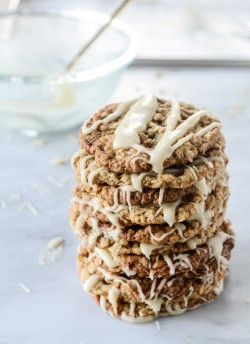 Thin and Chewy Spiced Oatmeal Cookies with Brown Butter Icing. | How Sweet It Is