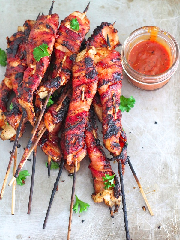 Bacon-Wrapped Grilled Chicken Skewers | The BakerMama