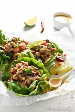 Thai Lettuce Wraps with Ginger Lime Satay Sauce