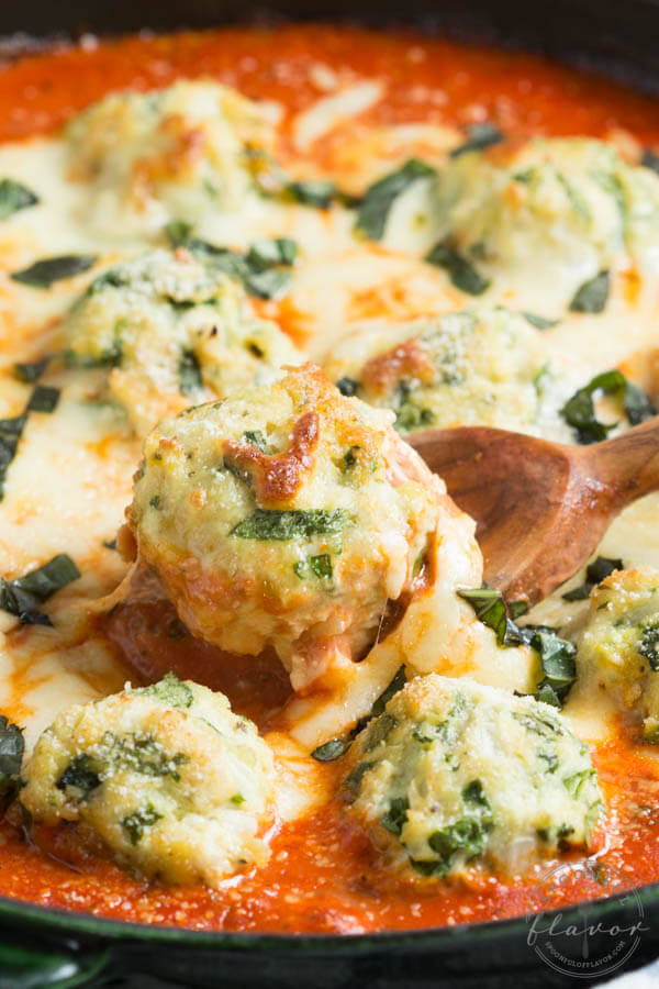 Spinach Chicken Parmesan Meatballs in Creamy Tomato Sauce – Spoonful of Flavor